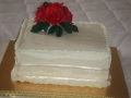 Melva's One Tier White Truffle Wedding Cake with Red Roses