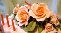 Jewel's 80th Birthday Cake - close up on flowers