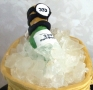 Closeup of Handmade Ice with Champagne Bottle on Hermes 21st Cake