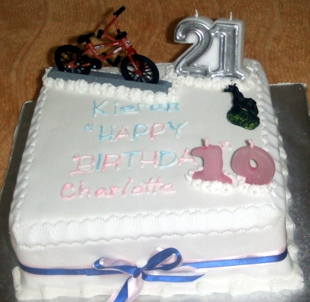 Kieran and Charlotte's Shared 21st and 19th Birthday Cake