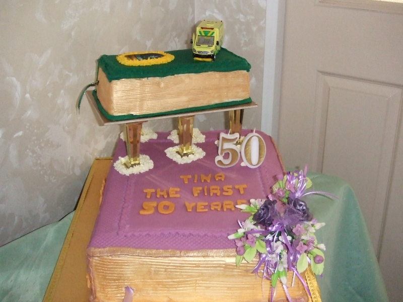 2 tier closed book cake 50th Birthday -Tina 3rd June 2017