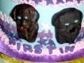 Close up on Labradors on Kirstin's 50th Birthday Cake