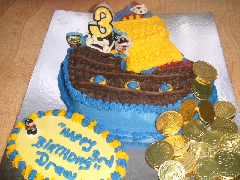 Drew's 3rd Birthday - Pirate Ship Birthday Cake