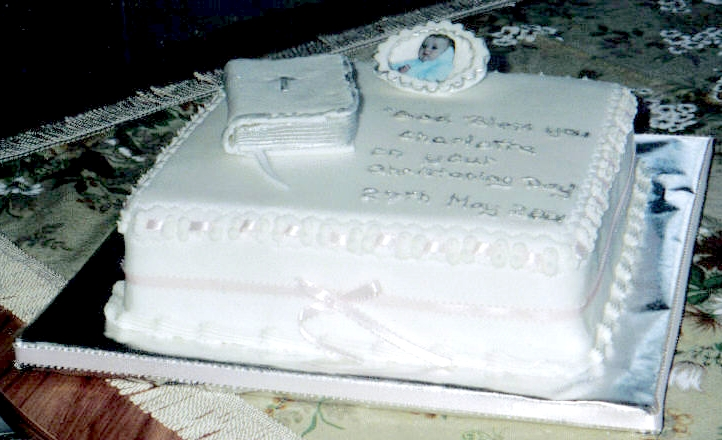 Shane Christening Cake with Bible and Photo of Child
