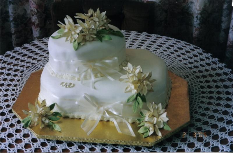 Alison's 2 Tier Rectangular Cream Wedding Cake