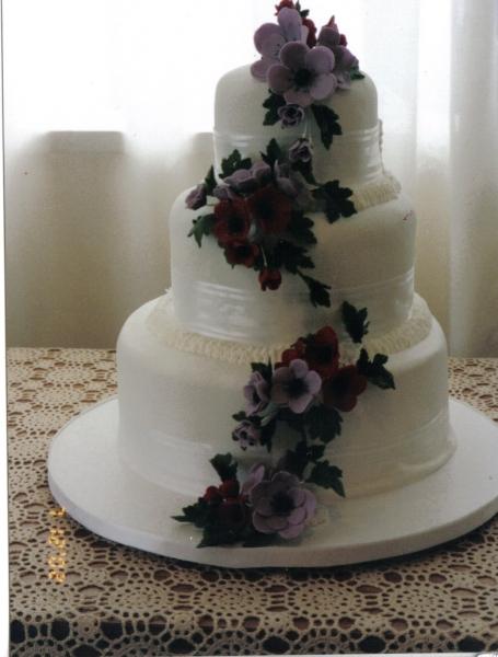 Amy's White 3 Tier Wedding Cake with Anemones