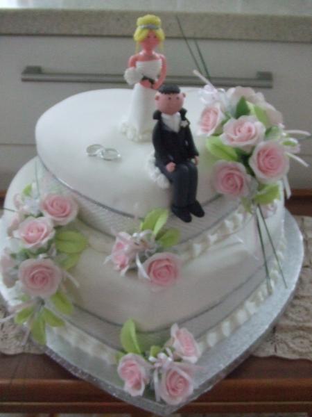 Debbie's 2 Tier Heart Stacked Wedding Cake