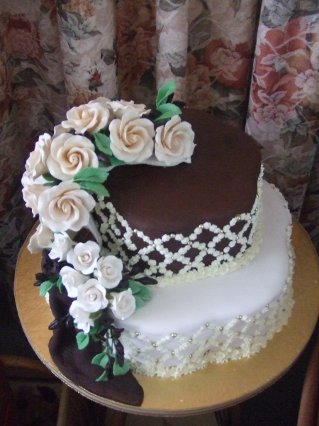 Diana's 2 Tier Cream and Chocolate Wedding Cake