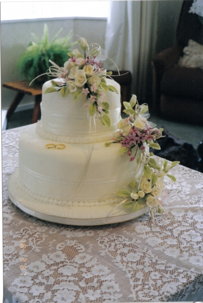 Joan's 2 Tier Cream Wedding Cake