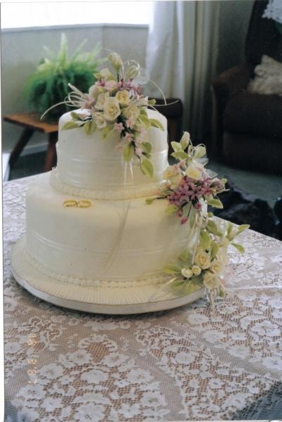 Joan's 2 Tier Cream Wedding Cake