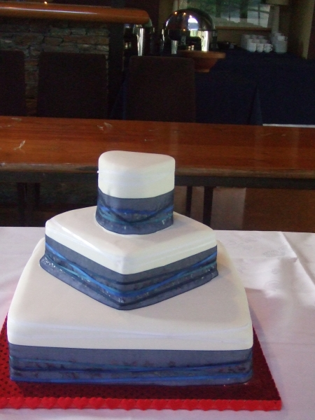 Leah's 3 Tier Stacked Wedding Cake with Small Heart Cake on Top Tier