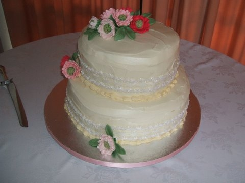 Margaret's 2 Tier Chocolate Cake with Hand made Gerbas