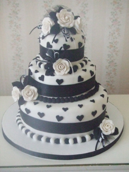 Liz's 3 Tier Black and White Chocolate Carrot Wedding Cake