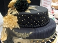 Margaret's original design Black & Gold two tier  stacked cake with Gold and Black Dasmask roses 31-10-2015
