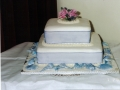Claire's 2 Tier Wedding Cake with Beach Theme and Hand Made Flowers on Top