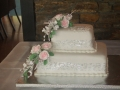 Florence's 2 Tier Wedding Cake with Pink Hand Made Roses