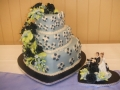 Rebecca's 3 Tier Stacked Heart Wedding Cake with Motorcycle Couple Cake Topper