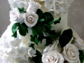 Top Tier of Hydrangeas and Middle Tier of Roses on Sally & Fraser's Wedding Cake
