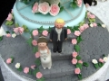 Margaret's original design - Bottom tier with claydough bride & groom, hand made stairway in grey & cobblestone path
