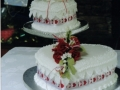 Lynn's 2 Tier Wedding Cake with a Heart Box of Flowers