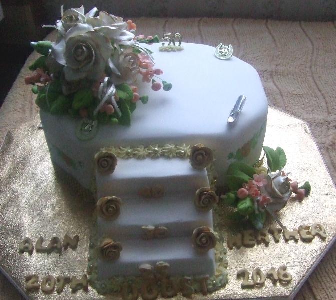 Heather's golden wedding cake
